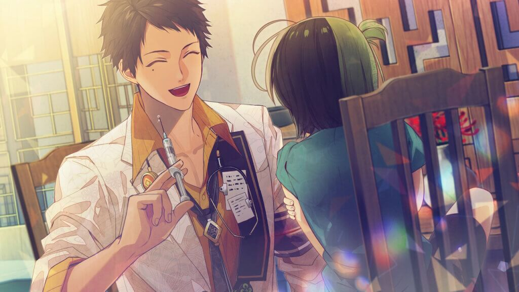Kuroba sits in front of a small child holding a syringe in his right hand.