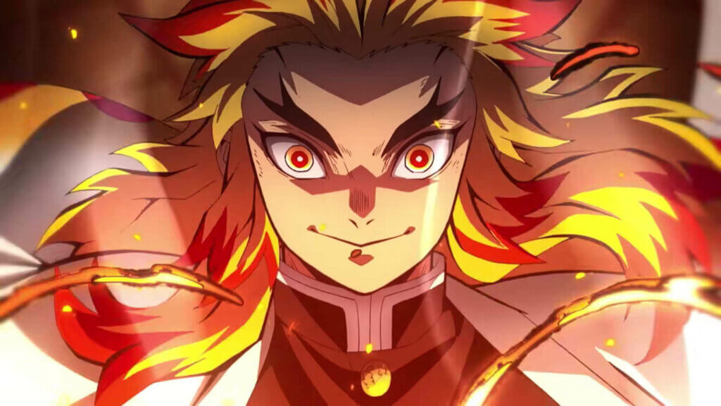 Rengoku surrounded by flames in Mugen Train